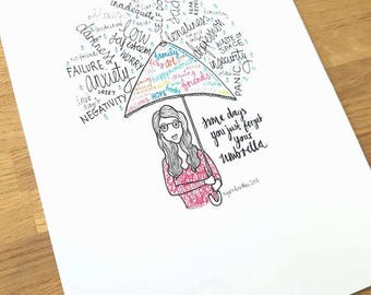 Don't forget your umbrella    A4 print of a hand-drawn illustration PRE-ORDER