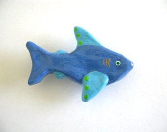Blue Shark Knob - right facing - Ceramic Dresser Drawer Knob for kids room