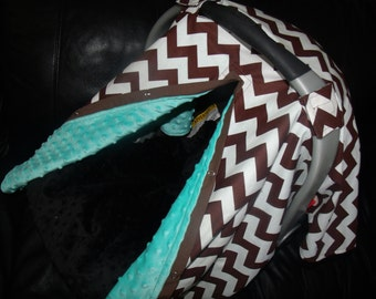 Carseat Canopy Mink Brown Chevron Blanket Cover car seat canopy car seat cover