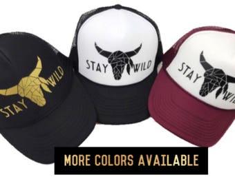 Women's Trucker Hat, Stay Wild Hat, Longhorn Hat, Women's Hat, Skull, Stay Wild, Hippie Hat, Women's Adjustable Hat, Cute Hat, Boho