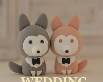 wolf husky puppy wedding cake topper---k873