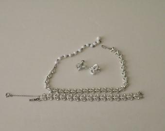 Coro white enamel necklace, bracelet, earrings. Set.