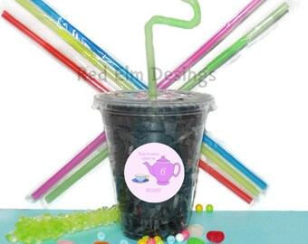 Tea Party Cups, Tea Cups, Kids Birthday Party Cups, 20 Cups, Tea Party Kids Party Cups, Straws and Lids, 12 Ounce Cups