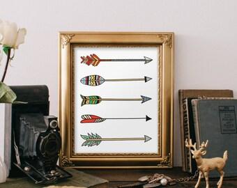 Arrow art print, tribal aztec art colorful arrows, printable art, arrows poster, room decor, tribal art print, Hand drawn, arrow Print BD456