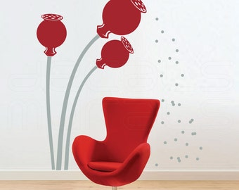 Wall decal POPPIES FLOWERS with SEEDS Vinyl art interior decor by Decals Murals (Large)
