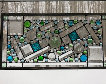 "Clear, Green and Blue Geometric Abstract Stain Glass Window Panel ""Pinball Money"""