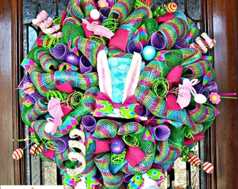 Easter wreath, Bunny wreath, Spring wreath, Easter Decor, Easter Wreath for front door, bunny butt wreath, bunny bottom