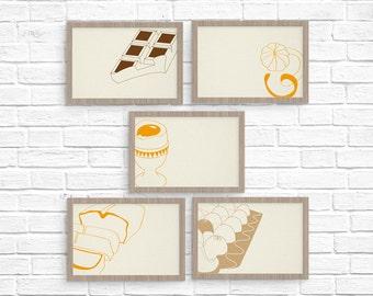 Set de 5 cartes - cartes pâtisseries - set de cartes vierges - cadeau pour cuisinier - jeu de cartes - impression typographique -letterpress
