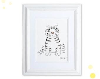 Watercolor Tiger Gender Neutral Nursery Wall Art, White Tiger Art Print, Minimalist Nursery Decor, Jungle Animal Art Prints, Safari Animals