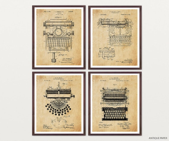 Typewriter Patent Art - Typewriter Art - Typewriter Poster - Literary Art - Writer - Novel - Book - Book Art - Vintage Typewriter - Words
