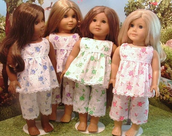 Summer Pajamas 4 Color Choices for American Girl