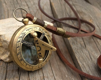 Women/Men leather long necklace,  Old Brass Sundial Compass pocket watch necklace, Nautical necklace