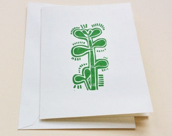 linocut card - JADE / handprinted greeting card / block print card / houseplant / succulent / green / hand pulled print / original