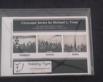 International Card Set: Set of 6 Note Cards Featuring Shanghai, Sydney and Dubai