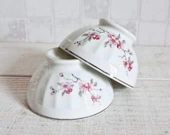 Set of 2 Vintage French LIMOGES Fluted Porcelain Mini Bowls White Cherry Blossoms || Shabby Chic Cottage - Rustic & Country Style