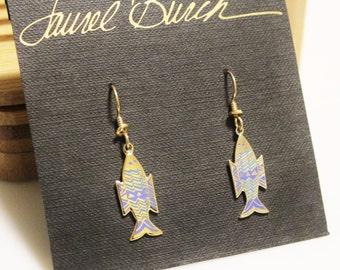 Laurel Burch Fish Enamel Earrings, Laurel Burch Jewelry, Fish Jewelry , Gifts Under 40