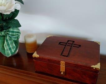 Bible Box, wedding box, new baby keepsake box, memory box, keepsake box, jewelry box, Cherry