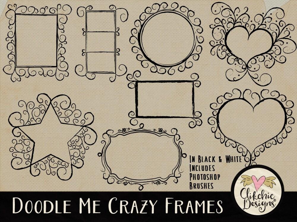 Doodle Frames Clipart & Photoshop Brushes Doodle Chalk board