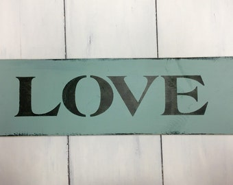 Shabby Wood Sign Love Valentine Made To Order Hand Painted
