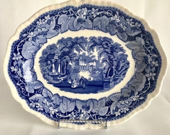 Mason's Blue Vista Ironstone platter, blue transferware platter