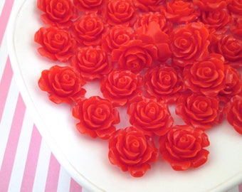 10 Red Rose Cabochons 20mm