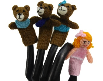 Goldilocks and the Three Bears Finger Puppet Set of 4 - Fair Trade from Peru