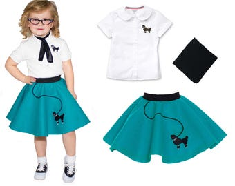 3 pc TODDLER Child (size 2T-3T) 50's Poodle Skirt OUTFIT