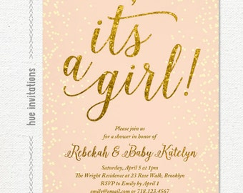 baby sprinkle invitations girl, coral gold glitter baby girl sprinkle shower printable invitation file, it's a girl peach gold confetti 129