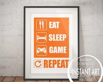 Eat Sleep Game Repeat - PLAYSTATION POSTER - video game poster - gamer gift - PS4 - kids room - orange - video game wall art - teen room art