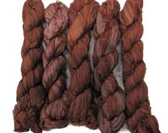 New! 50g Recycled Sari Silk Ribbon, 25-28 yards , color Bark