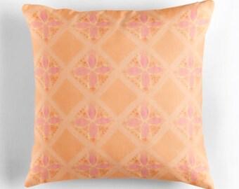 Orange & pink flower moroccan cushion / hand painted watercolour design