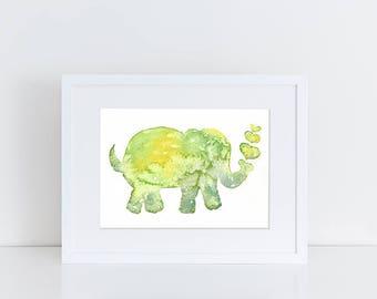 Elephant Art, Original Watercolor Elephant Painting,  Watercolor Baby Elephant Nursery, Watercolor Safari, Animal Painting, Wildlife Art, A5