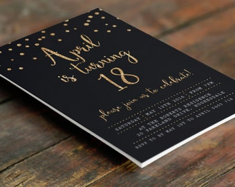 Black and Gold 18th Birthday Invitation A6 (Digital File - Printable PDF)