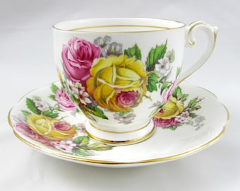 Queen Anne Tea Cup and Saucer, Manor Roses, Pink and Yellow Roses, Vintage Bone China, Teacup and Saucer