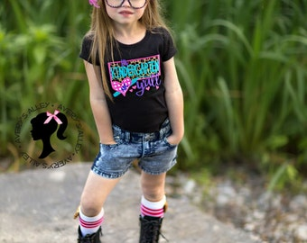 ANY GRADE! It's Kindergarten Y'all - Girls Back to School Leopard Applique Shirt & XL Matching Hair Bow Set with Puff