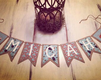 Boys Name Banner/Boys Room/Boys Room Decor/Baby Shower Decor/Boys Nursery Decor/Baby Boy Decor/Name Bunting