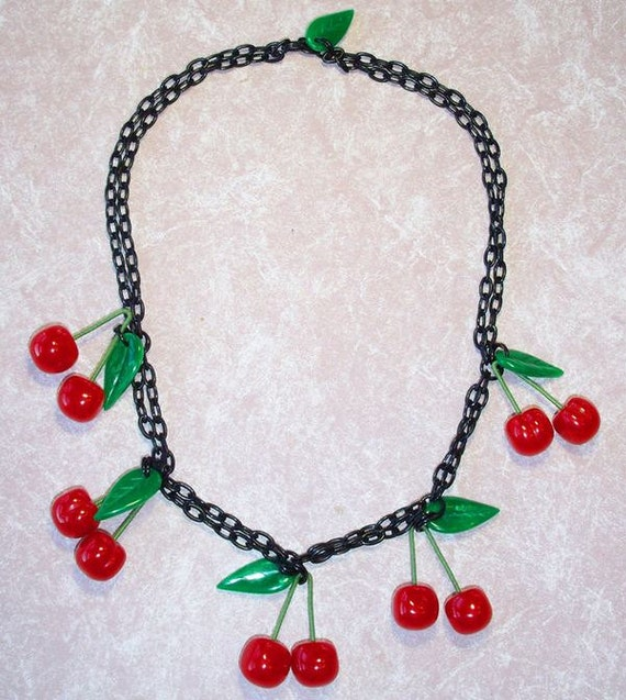 Cherry Necklace -  Contemporary Artisan Bakelite Utilizing Vintage Materials