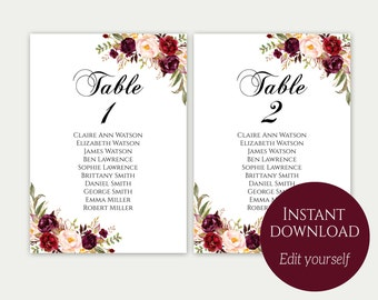 Wedding Seating Chart Template, Seating Cards, Seating Chart Sign, Seating Chart Template, Editable Seating Chart, Instant Download, Marsala