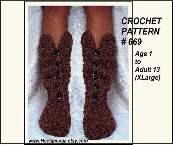 crochet PATTERN Crochet Boot Slippers Age 1 to adult sizes