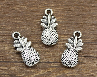20pcs Pineapple Charms Antique Silver Tone Double Side 9x19mm - SH285