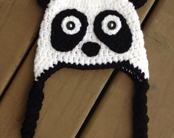 Panda Hat, Infant Panda Hat, Crochet Kids Hat, Baby Boy Hat, Boy Panda Hat, Kids Panda Hat, Newborn Photo Prop