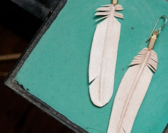 leather feather earrings - hand carved - white