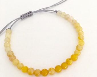 Dainty Yellow jadeite gemstone beaded bracelet. Simple everyday jewelry.