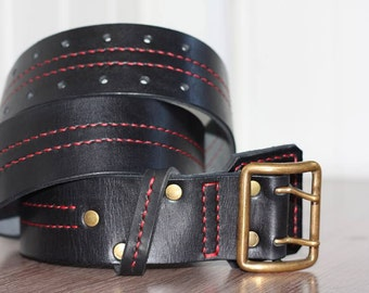 Leather belt, handmade, Men's Leather Belt, Rustic Leather Belt, black leather belt