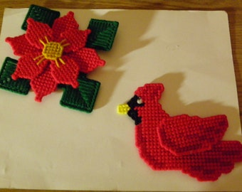 Set of 2 Plastic Canvas Christmas Magnets #37