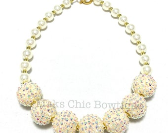 Toddler or Girls Bling and Pearl Chunky Necklace - Girls Ivory Rhinestone Chunky Necklace - Flower girl Necklace - Girls Spring Necklace