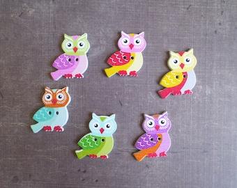 12 wooden buttons shaped animal bird OWL OWL