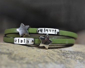 Names bracelet Personalized custom jewelry Leather bracelet Personalized leather bracelet Mother gift Hand stamped Inspirational women gift