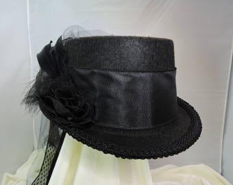 black TOP HAT victorian steampunk renaissance faire cosplay sz SMALL