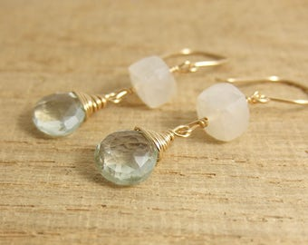 Earrings with Pearl Chalcedony Square Beads and Green Amethyst Teardrops Wire Wrapped with Gold Filled Wire GHE-3